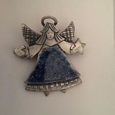 silver with blue (Cl320Fc3) Tc brand Angel pin brooch Joy & hope