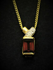 BEE 9CT YELLOW GOLD PENDANT SET WITH CREATED RUBY AND DIAMONDS