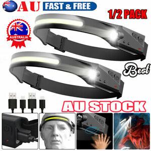 USB Rechargeable Headlamp COB LED Motion Sensor Head Torch Headlight Waterproof