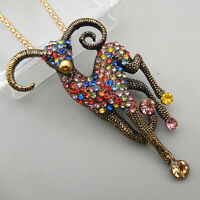 Betsey Johnson Colorful Crystal Goat Sheep Animal Pendant Necklace/Brooch