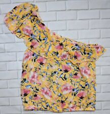 Lily White Top Womens Small One Shoulder Shirt Yellow Floral Ruffle Crop