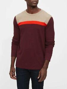Gap Mens Waffle Knit Colorblock Crewneck Shirt Size XL NWT Burgundy Long Sleeves