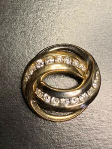 DIAMOND slide pendant white yellow 14 k gold 18 diamonds Beautiful!
