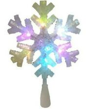 Twinkling Snowflake Christmas Tree Top Indoor Star LED Multi colors Topper 10IN