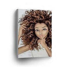 Mixed Race African Woman Blonde Afro Hair CANVAS PRINT Wall Art Home Decor