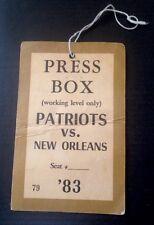 Vintage 1983 New England Patriots NFL Press Box Media Pass Hanger Tag