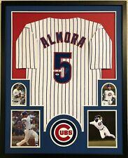 FRAMED CHICAGO CUBS ALBERT ALMORA JR AUTOGRAPHED SIGNED JERSEY PSA COA