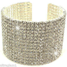 CRYSTAL -RHINESTONE 14-Row CUFF Statement BRACELET/CROSSDRESSER/DRAG QUEEN