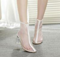 Women Pointed Toe Mesh Transparent Chunky High Heel Shoes Ankle Boots Sandals @