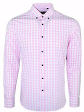MENS BUTTON DOWN CHECK PINK  *FORMAL*CASUAL DRESS SHIRT NOW £15.99 (392)