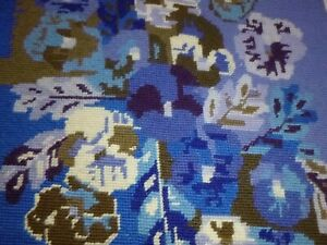 """Vtg Completed Needlepoint Columbia Minerva #1530 Pansies Blue Brown 15x15"""""""