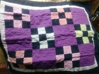 Folk Art Vintage Handmade Quilt Pillow Cover Country Checkerboard Americana Neat