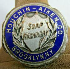 Vintage ENAMELED BRASS HOUCHIN AIKEN CO. SOAP MACHINERY Brooklyn Ny Name Tag