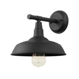 1-Light Black Outdoor Barn Light Sconce