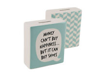New Green Money Box Piggy Bank with Speech Bubble Shoe Quirky Slogan