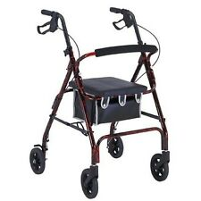 Probasics Flame Finish Aluminum Rollator with Loop Brakes-  Red Flame