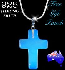 Natural Opal Opalite Crystal Quartz Cross Pendant 925 Sterling Silver Necklace