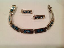 """7 Turquoise Inlaid 8"""" Bracelet Earrings Fine Vtg Sterling Taxco Mexico 925 Thick"""