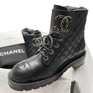 New CHANEL Black Leather Combat 38 EUR Boots shoes brooch motto lace quilt gold