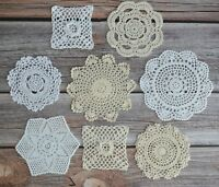 Set 8 Crochet Small Doilies Lot in bulk Country Party Wedding DIY Embellishments