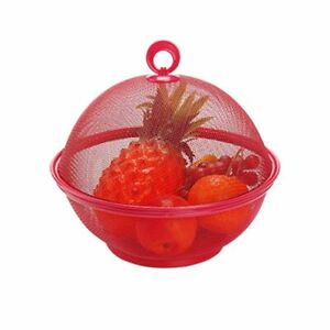 Fruit Basket With Cover Apple Shape Mesh Iron Kitchen Counter Top Storage Lidded