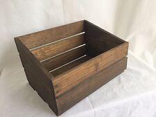 "Vintage Wooden Crate Open Box Decor 10.5""x5""x7.5"" Rustic Tiger Striped Wood EUC"