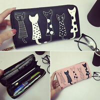 Zipper Long Women's Wallet Cute Cartoon Embroidery Modern Cat PU Leather Purse