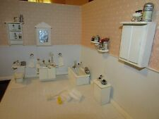 Miniature Dollhouse Silver And White Bath Collection-Ooak
