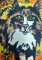 Maine Coon Cat ACEO Original Miniature Art Painting Vintage Style Artist KSams