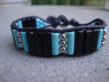 Men's Beaded Bracelet Silver Blackstone and Turquoise Leather Wrap Bracelet Cuff