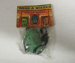 Vintage Monsters Horror Wear A Weird-O Frankenstein Head Necklace Sealed