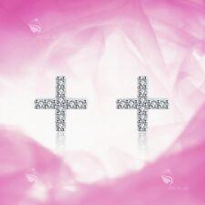 925 Silver Earrings Simulated Diamond Cross X Stud Kids Children's Jewellery