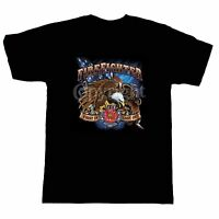 Fire Ems Police T-shirt Firefighter Fireman Firemen First In Last Out Eagle