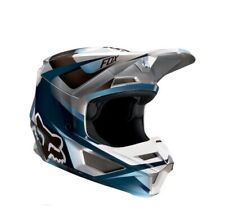 Fox Racing V1 Motif Motocross Helmet - Blue/Grey, Youth Large