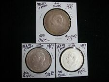 1957 CONSTITUTION 3 COIN SET 1-5-10 PESO SILVER AVERAGE CIRCULATED