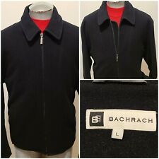 Bachrach Jacket Pea Coat Black Men's Size L Zipper Wool/Cashmere Quilted Lining