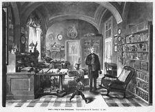 Justus LIEBIG de dans son bureau, Original-Gravure sur bois von1874