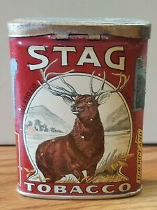 ANTIQUE STAG TOBACCO TIN LITHO VERTICAL POCKET SAMPLE TOBACCO CAN