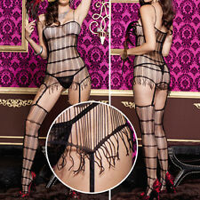 Black Fringe Net Mini Dress Strappy Bodystocking String Thigh High Stockings Set