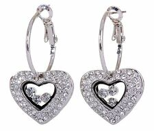 Swarovski Elements Crystal Treasure Heart Locket Pierced Earrings Rhodium 7104x