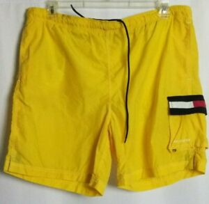 Tommy Hilfiger Flag Logo Swim Trunks Vintage 90s Mesh Lined Yellow Size Large