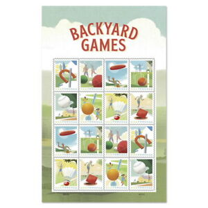 US 5627-5634 5634a Backyard Games forever sheet (16 stamps) MNH 2021 after 8/22