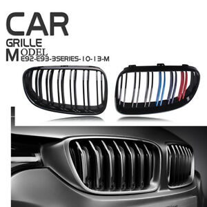 For BMW 3Series E92 E93 10-13 Gloss Black M Color Kidney Grille Dual Slat Grill