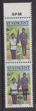 """St. Vincent SG933a 1985 60 C VISITE ROYALE """"Missing surimpression"""" en paire Neuf sans charnière"""