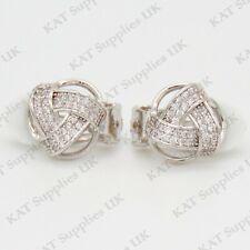CLIP ON Earrings Crystal Silver Rhinestone Fake Studs Non Pierced Ear Round #58