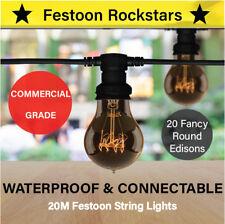 20m Festoon String Lights | Commercial Grade | Edison Globes | Permanent Outdoor