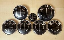 Full Set Black Colour BMW Wheel Center Caps Boot Bonnet & Steering Badges