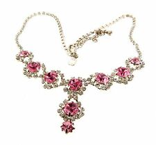 Pink Rhinestone Floral Necklace Choker Silver Tone 11/2x15-18
