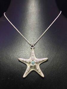 0.29Ct Round Natural Aqua Blue Topaz Starfish Pendant White Gold Finish Silver