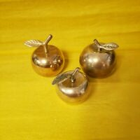 Vintage Set of 3 Brass Apple Bells Stems and Leaves Teacher Gift